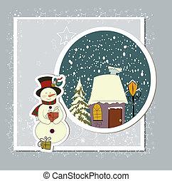a, mignon, noël carte, à, a, bonhomme de neige