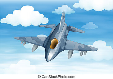 A military aircraft in the sky - Illustration of a military...