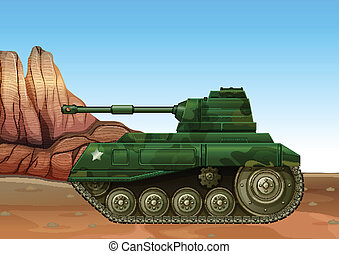 A military fighter tank - Illustration of a military fighter...