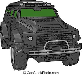 A Military four-wheeler vector or color illustration - It is...