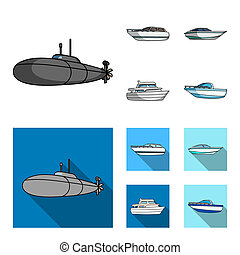 A military submarine, a speedboat, a pleasure boat and a spirit boat. Ships and water transport set collection icons in cartoon, flat style bitmap symbol stock illustration web.