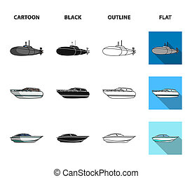 A military submarine, a speedboat, a pleasure boat and a spirit boat. Ships and water transport set collection icons in cartoon, black, outline, flat style bitmap symbol stock illustration web.