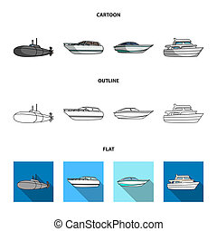 A military submarine, a speedboat, a pleasure boat and a spirit boat. Ships and water transport set collection icons in cartoon, outline, flat style bitmap symbol stock illustration web.
