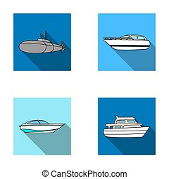A military submarine, a speedboat, a pleasure boat and a spirit boat. Ships and water transport set collection icons in flat style raster, bitmap symbol stock illustration web.