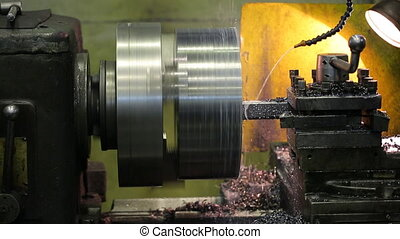 A milling machine working workshop factory makes some on steel particular