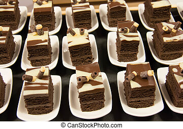 Mini cake on the table for the buffet