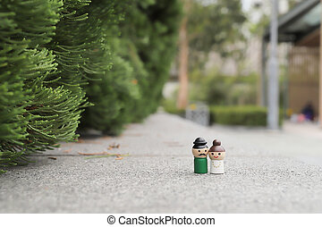a mini of Happy Couple figure on outdoor