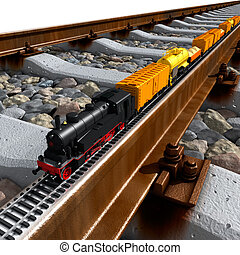 A miniature model of the train - a steam locomotive, railway...