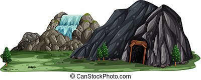A Mining Cave on White Background