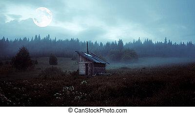 a, mistério, lua