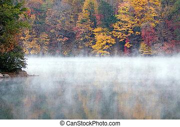 A misty fall morning on a