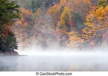 A misty fall morning on a