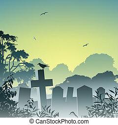 Misty Graveyard - A Misty Graveyard, Cemetery with...