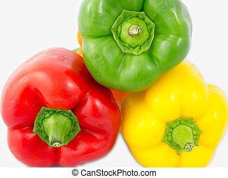A mix of differently colored bell peppers isolated on white background.