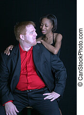 mixed couple touching