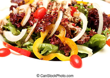 mixed vegetable tuna salad on white