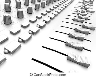 A Mixing board. 3D rendered illustration.