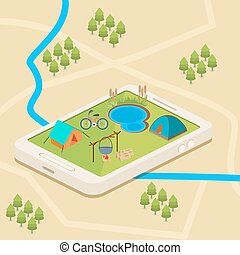 A mobile map of a campsite