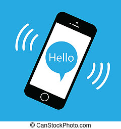 a mobile phone ringing with a speech bubble