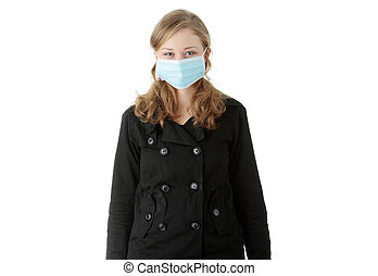 A model wearing a mask to prevent \'Swine Flu\' infection.