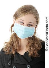 a, modell, bära en mask, till förebygg, \'swine, flu\',...
