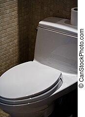 A modern bathroom toilette