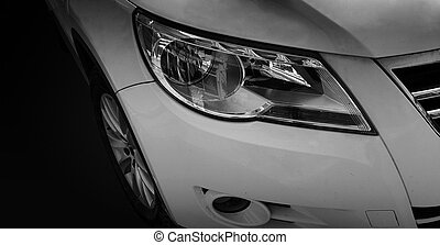 A modern car closeup of headlight