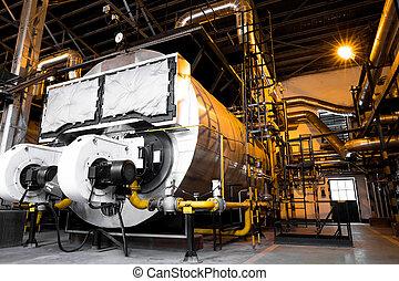 modern industrial boiler, industrial building interior - a ...