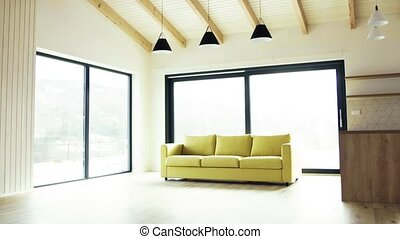 A modern interior of a house or flat in new home. A moving...