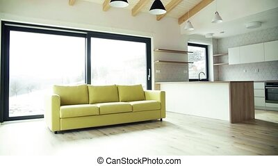 A modern interior of a house or flat in new home. Slow ...