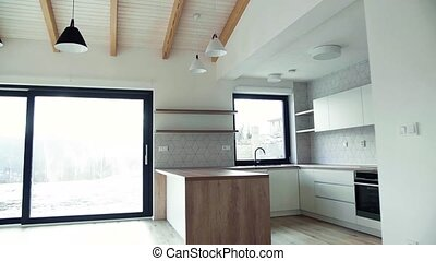 A modern interior of kitchen in a house or flat in new home...