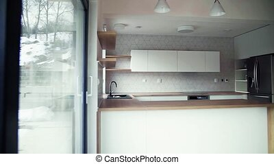 A modern interior of kitchen in house or flat in new home. -...