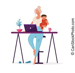 A modern woman holds a child in her arms and works at a computer. Concept illustration about choosing a career or family, distant work, career, freelance. Flat cartoon illustration isolated on white