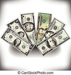 A money fan of US bills