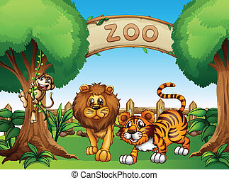 A monkey, a lion and a tiger inside the wooden fence -...