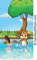 A monkey and a beaver in the pond