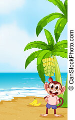 A monkey at the beach with bananas