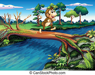 A monkey crossing the river