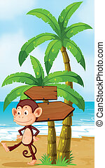 A monkey dancing at the beach with arrowboards