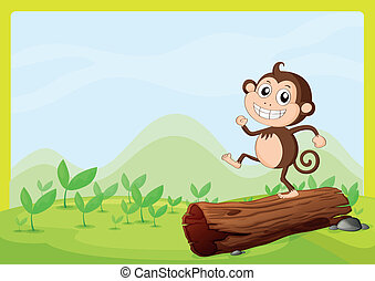 A monkey dancing on dry wood