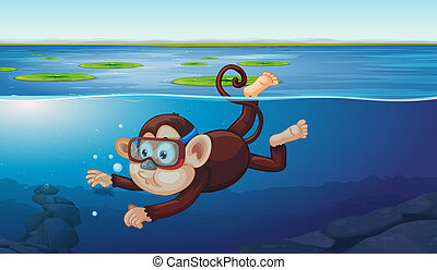 A monkey diving in the pond