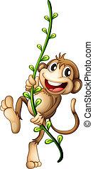 A monkey hanging on a vine - Illustration of a monkey...