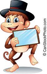 A monkey holding a mirror