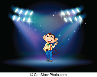 A monkey holding an envelope with spotlights