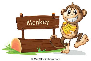 A monkey holding bananas