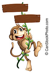 A monkey holding the two wooden signboards - Illustration of...
