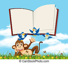 A monkey in nature with blank book template