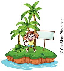 A monkey in the island with an empty board
