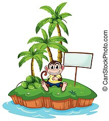 A monkey in the island with an empty signboard