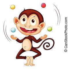 A monkey juggling balls on white background